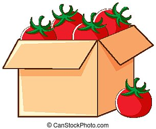 tomates, fond, boîte, blanc