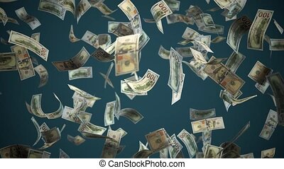 tomber, 3d, fond, dollar, alpha, vue, perspective, noir, channel., isolé, dollar.