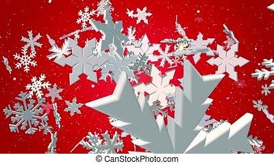 tomber, blanc, flocons neige, rouges