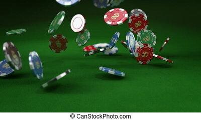 tomber, casino, chip/tokens, bas.