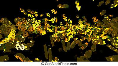 tomber, finance, dollar, noir, événement, 3d, render, arrière-plan., symboles, doré