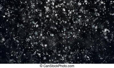 tomber, flocons neige