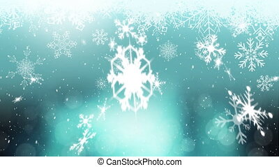 tomber, fond, neige, bleu