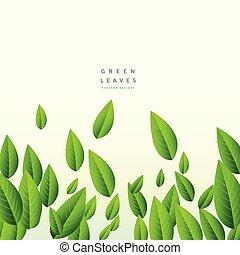 tomber, long, feuilles vertes, fond