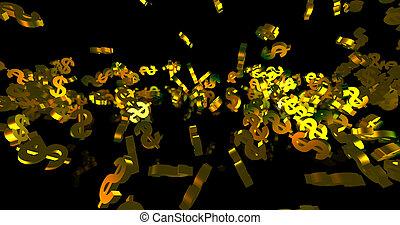 tomber, noir, doré, arrière-plan., dollar, symboles, render, 3d, événement, finance