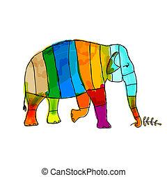ton, éléphant, rigolote, conception, rayé