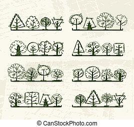 ton, arbres, étagères, croquis, conception