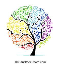 ton, art, arbre, conception