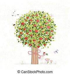 ton, conception, arbre, pomme, arc