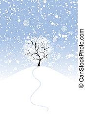 ton, conception, hiver arbre, colline