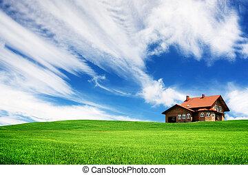 ton, maison, colline verte, nouveau