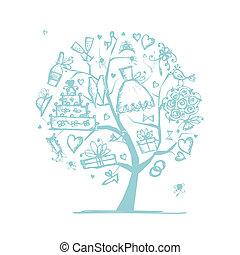 ton, mariage, arbre, conception, concept