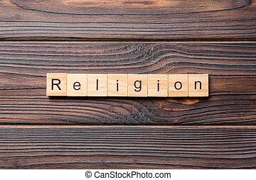 ton, mot, desing, texte, religion, block., concept, table, bois, écrit, ciment