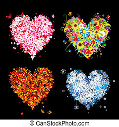 ton, printemps, winter., saisons, -, automne, été, art, cœurs, quatre, conception, beau