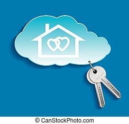 ton, propre, nuage, amants, maison, concept, privé