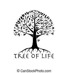 ton, racines, arbre, conception