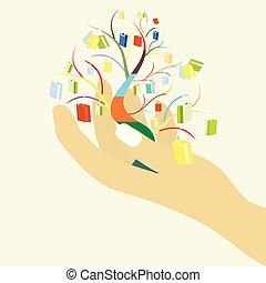 ton, sacs, achats femme, coloré, grand arbre, vente, main, concept, conception