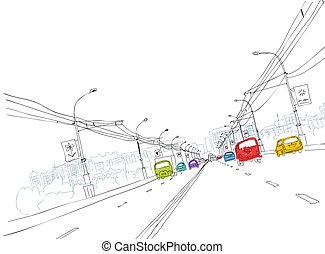 ton, ville, croquis, trafic, route, conception