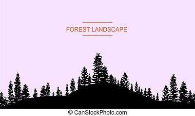 tonalité, arbres, eps, forêt, pastel, conifère, template., vecteur, illustration, silhouette