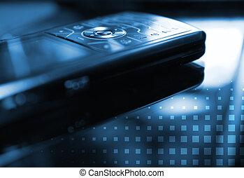 toned bleu, central, dof, image, mobile, button), (shallow, téléphone, concentré, rond