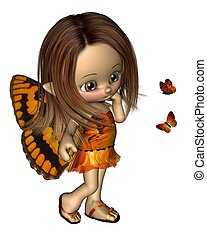 toon, papillon, fée, -, orange