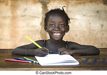 toothy, école, notes., elle, grand, africaine, écriture, girl., symbol:, magnifique, écolière, sourire, education
