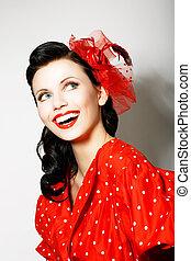 toothy, femme, elation., épinglez, retro, portrait, sourire, robe, style., rouges, heureux