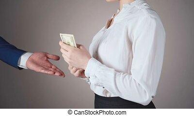 top secret, métrage, document, femme affaires, achat