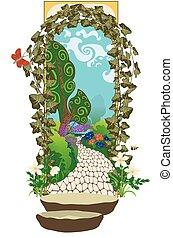 top secret, portail, jardin