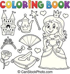 topic, coloration, 1, livre, ensemble, princesse