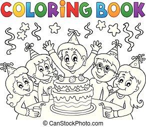 topic, coloration, gosses, 1, livre, fête