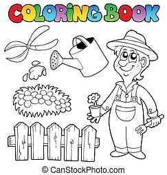 topic, livre coloration, jardin
