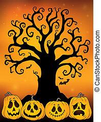 topic, silhouette, 3, halloween, arbre