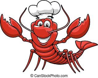 toque, casquette, chef cuistot, homard, dessin animé, rouges
