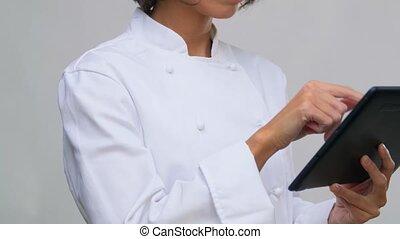 toque, informatique, tablette, chef cuistot, femme