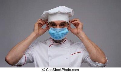 toque, porter, chef cuistot, masque, mâle, monde médical