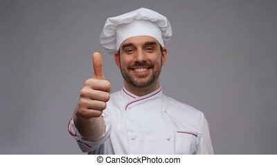 toque, pouces haut, sourire, mâle, chef cuistot, projection