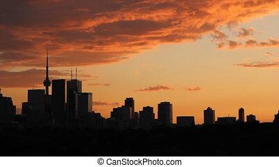 toronto, orange, timelapse., sunset.