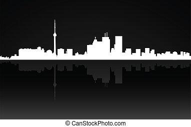 toronto, ville, panorama