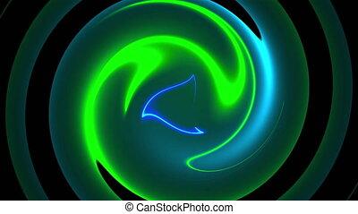 torsade, résumé, lines., couleur, informatique, fusion, arrière-plan., 3d, néon, circulaire, rendre, engendré