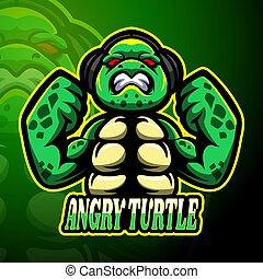tortue, conception, logo, fâché, vecteur, mascotte, esport, illustration
