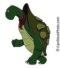 tortue, courant, dessin animé, illustration