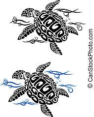 tortue, eau, mer