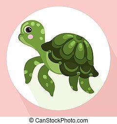 tortue, mignon, caractère, vecteur, fond, dessin animé
