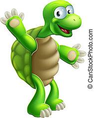 tortue, onduler, tortue, ou, dessin animé