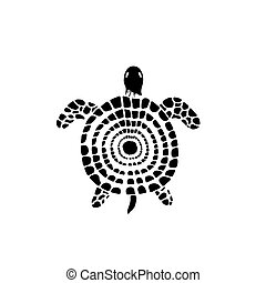 tortue, stylisé, griffonnage, eau, mer, reptile., style.