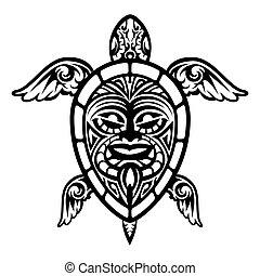 tortue, tatouage, haut, vecteur, polynésien, fin