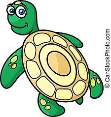tortue, vert, caractère, dessin animé, mer