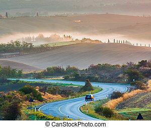 toscane, paysage, levers de soleil