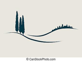 toscane, san, projection, illustration, stylisé, gimignano, italie